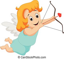 Funny little girl cupid with bow and arrow