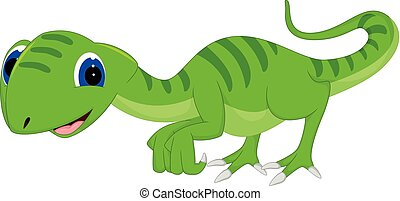 funny lizard cartoon posing with smiling and waving