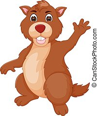 funny marmot cartoon standing with smile and waving