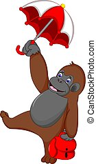 funny monkey cartoon standing bring umbrella with smile and waving
