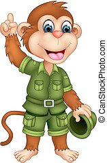 funny monkey cartoon standing with smile and waving