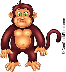 funny monkey cartoon standing with smile