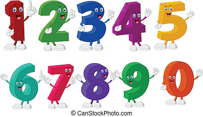Funny Numbers Cartoon Characters - vector illustration of...