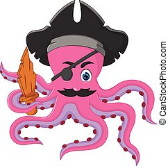funny octopus cartoon posing with smile