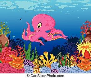 funny octopus cartoon with sea life