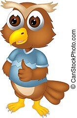 funny owl cartoon posing with laughing and thumb up