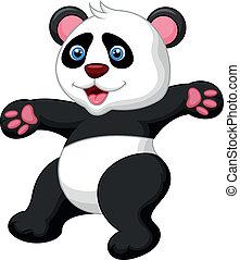 Funny panda cartoon waving hand