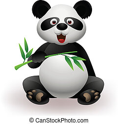 Funny panda with bamboo