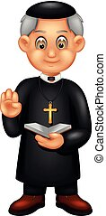 funny pastor cartoon standing with smile and pointing -...