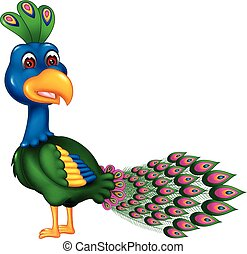 funny peacock cartoon standing with smile and waving