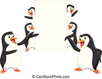 funny penguin cartoon with a blank sign