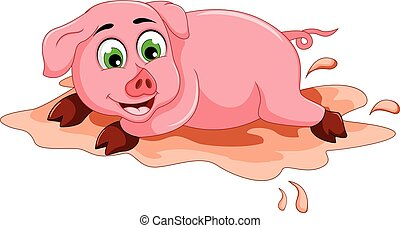 funny pig cartoon playing in mud puddle - vector...