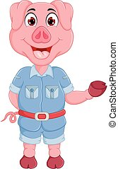 funny pig cartoon standing with waving and laughing