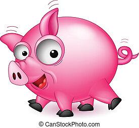 funny pig cartoon - vector illustration of funny pig cartoon