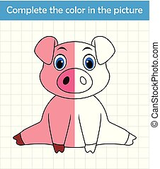 Funny pig sitting. Complete the picture children drawing game