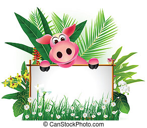 funny pig with blank sign