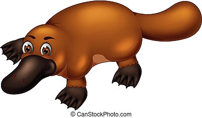 funny platypus cartoon walking with smiling