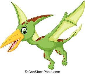 funny pterodactyl cartoon flying