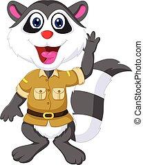 funny raccoon cartoon waving