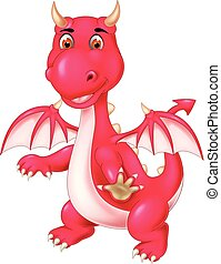 funny red dragon cartoon standing with smile and waving