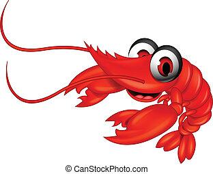 funny red shrimp cartoon