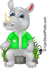 funny rhino cartoon sitting sweating on stone