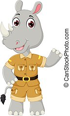 funny rhino cartoon standing with smile and waving