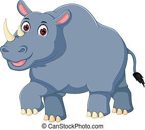 funny rhino cartoon walking with laughing