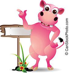 funny rhino with blank board