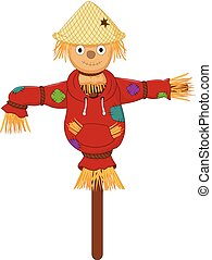 funny Scarecrow cartoon standing with smile and waving