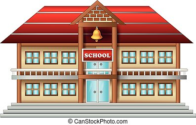 funny school building cartoon on white background