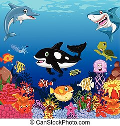 funny sea animals cartoon
