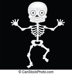 Funny skeleton cartoon - Vector illustration of Funny...