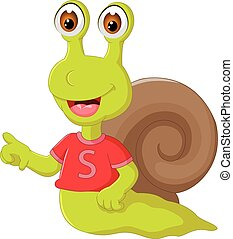 funny snail cartoon posing with smile and pointing finger