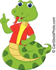 funny snake cartoon posing with smile and pointing finger