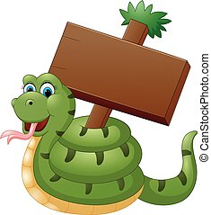 Funny snake with blank sign