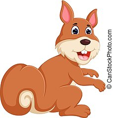 funny squirrel cartoon sitting with smiling and waving