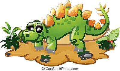 Funny stegosaurus cartoon - Vector illustration of Funny...