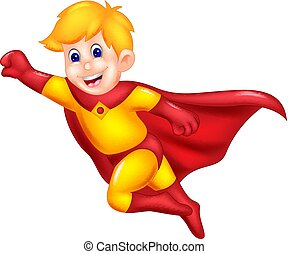 funny superman cartoon flying with smile and waving - vector...