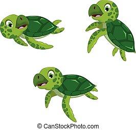 funny three turtle cartoon