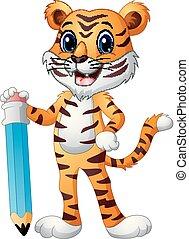 Funny tiger cartoon holding a big pencil