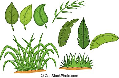 funny tropical leaves cartoon