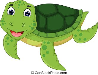 funny turtle cartoon swimming with laughing
