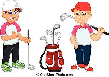 funny two man cartoon playing golf