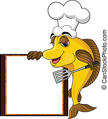 vector illustration of funny yellow cartoon cook fish with blank sign