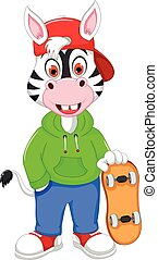 funny zebra cartoon playing skateboard