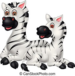 funny zebra cartoon sitting with laughing