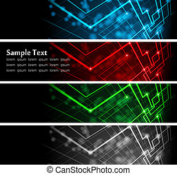 Vector illustration of futuristic color abstract glowing banners