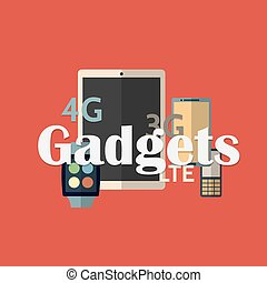 Vector illustration of gadget icons. Flat style.