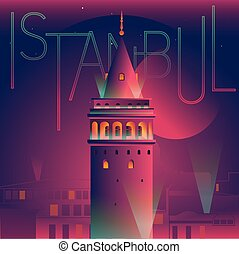 vector illustration of galata tower night view